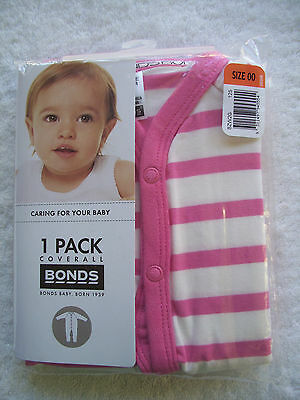 BNIP Baby Girl's Bonds Pink & White Stretchies Coverall/Sleepsuit Size 00