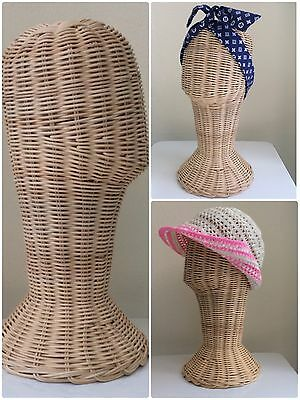 """Rattan Wicker Mannequin 14"""" Head Wig For Hat Display Stand Sunglasses Ect"""