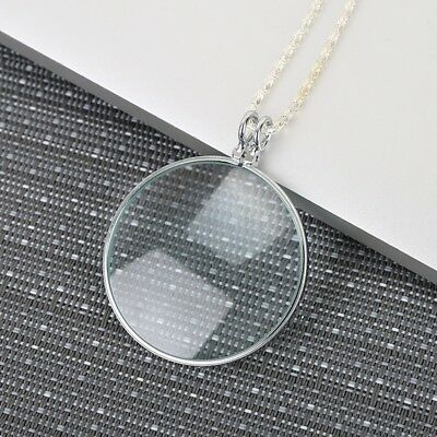 5x Round Silver Fashion Necklace Pendant Magnifying Glass for Reading Decoration