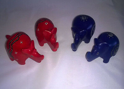 Pair of 6cm Hand Carved and Painted Soapstone Rhinos