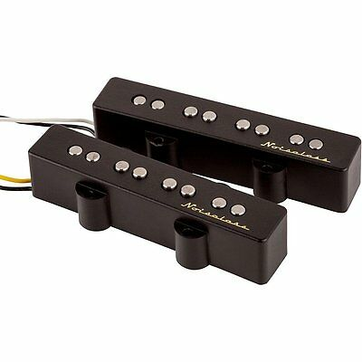 Fender Noiseless J Jazz Bass Alnico 2 Magnet Replacement Pickup Set  Black