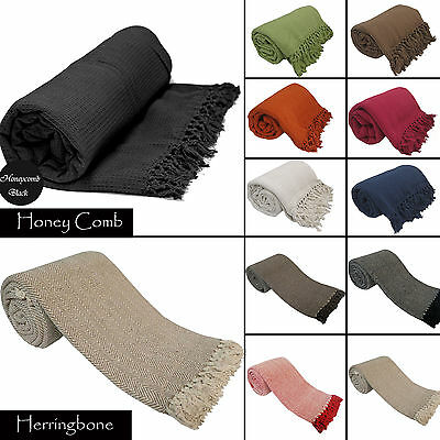 Luxury 100% Indian Cotton Sofa / Bed Throw Throw 9 Colours Giant Jumbo Size