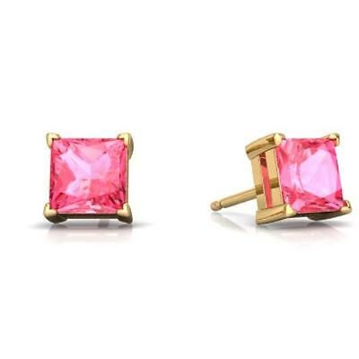 2 Ct Pink Sapphire Princess Cut Stud Earrings 14Kt Yellow Gold