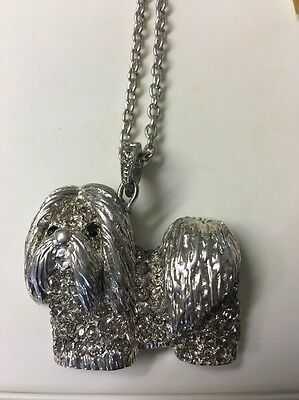 LONDON Designer HAVANESE DOG SILVER NECKLACE PENDANT with GOLDEN TOPAZ CRYSTALS