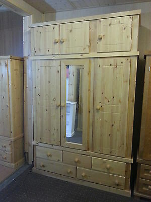 Handmade Solid Pine Stained Triple Banbury Wardrobe - Fully Assembled - Wood