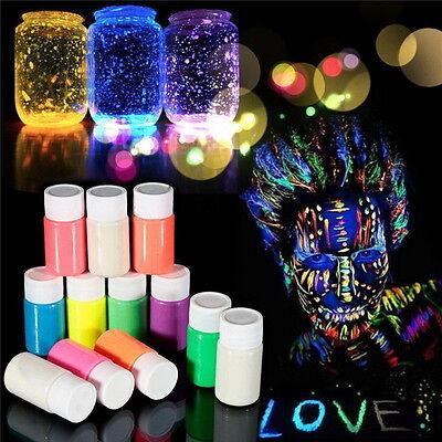 Paint Glow 20ml/.7oz Glow in the Dark Face and Body Paint- 12 colors of Set E