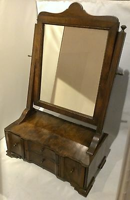 Antique 18th C. Queen Anne Dressing Stand Dresser Shaving Mirror Jewelry Box