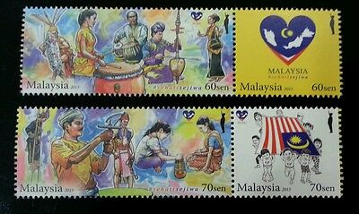 Malaysia Day 2015 Unity Traditional Dance Musical Instrument Game Flag stamp MNH