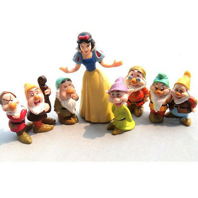 Hot Snow White & the Seven Dwarfs Toy Figure Figurine Cake Topper Set Collection