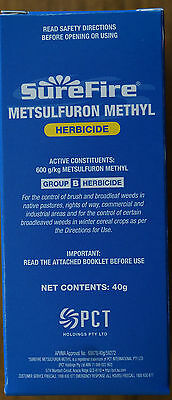 Weed Killer SureFire Metsulfuron Methyl Herbicide 40g (600g/KG) like Brush Off