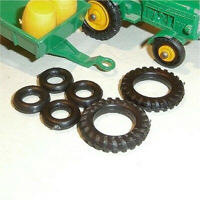 Matchbox Lesney 50 & 51 Tractor & Trailer Tires 6 x Repro Black Tyres Pack #3