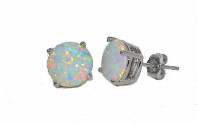 14kt White Gold Opal 4mm Round Stud Earrings
