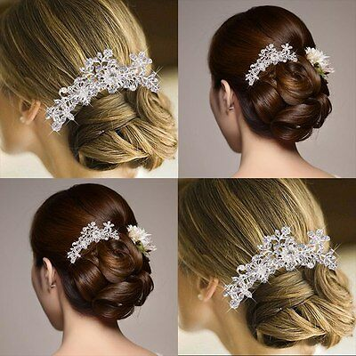 Bridal Wedding Flower Crystal Rhinestone Diamante Pearls Women Hair Clip Comb