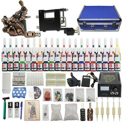 Complets Tattoo Kits de Tatouage 2 Machine Rotary Gun à Tatouer 40 Encre Valise