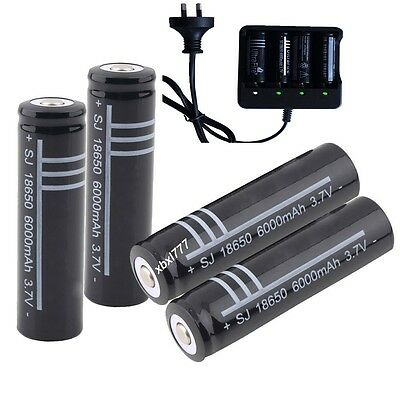 18650 3.7V Li-ion Rechargeable Battery + AU charger For LED Flashlight Torch AU