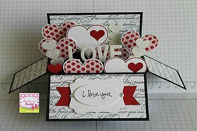 Handmade card, card in a box, Anniversary or love card, red hearts stampin up