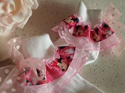 Unique Baby Girls Socks White Pink Minnie Mouse Frilly Socks 4 Sizes HANDMADE