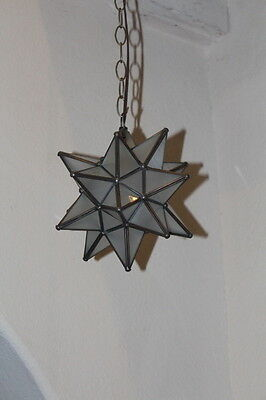 "Moravian Star 9.5 inch""  frosted glass star with antique bronze trim"