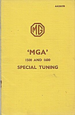 Mg Mga 1500 1600 Special Tuning Original Factory Booklet August 1960 Akd819B
