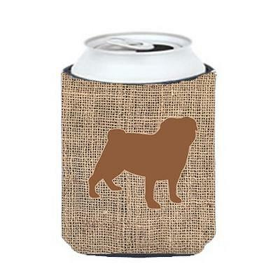Carolines Treasures BB1112-BL-BN-CC Pug Burlap And Brown Can Or Bottle Hugger