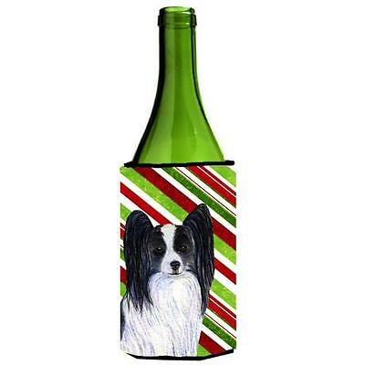 Papillon Candy Cane Holiday Christmas Wine Bottle Hugger 24 oz.