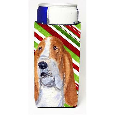 Basset Hound Candy Cane Holiday Christmas Michelob Ultra bottle sleeve for Sl...
