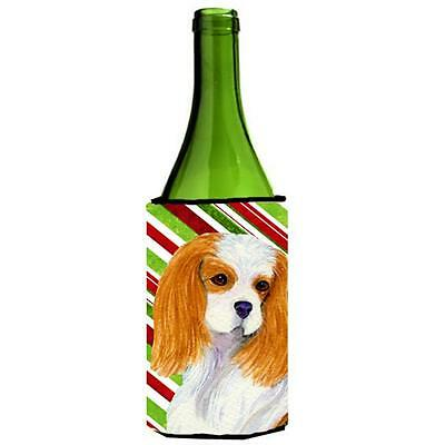 Cavalier Spaniel Candy Cane Holiday Christmas Wine bottle sleeve Hugger