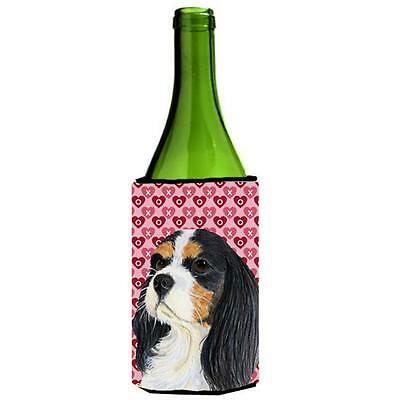 Cavalier Spaniel Hearts Valentines Day Portrait Wine Bottle Hugger 24 oz.