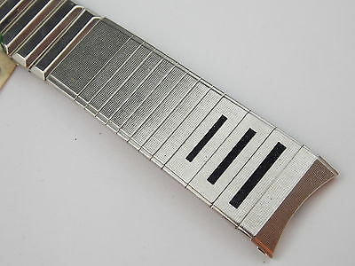 Vintage NOS Mint Admiral Stainless Steel and Black watch band 17.5mm 11/16 inch