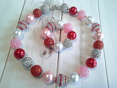 childrens girls bubblegum chunky bead necklace set lot christmas sparkle holiday