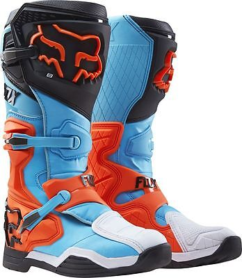 Fox Racing NEW 2017 Mx Comp 8 Adult Dirt Bike Blue Aqua Orange Motocross Boots