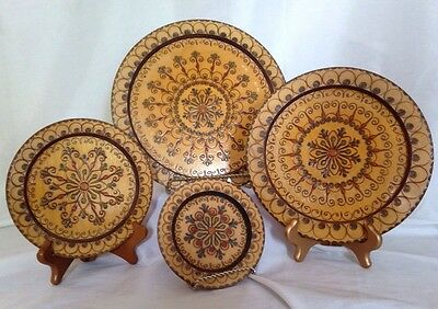 Lot of 4  VINTAGE POLISH Carved or PYROGRAPHY Wood Wooden FOLK ART PLATE
