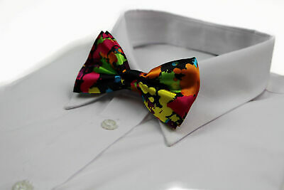 Mens Rainbow Splash Colourful Bow Tie Silk Pre-Tied Bowtie Wedding Party