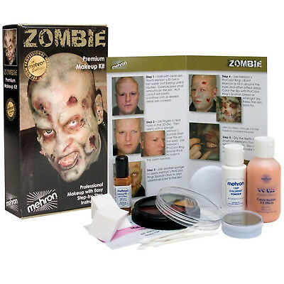 Mehron Zombie Flesh Makeup Kit Special Effects Pro Halloween Costume Walk Decay