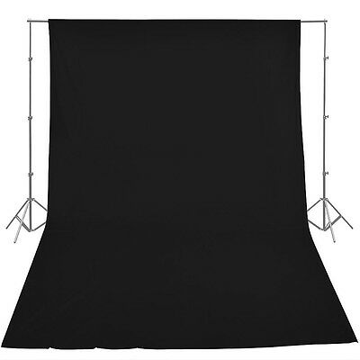 Black Screen Backdrop 3m x 3.6m Cotton Muslin Background for Studio Lighting