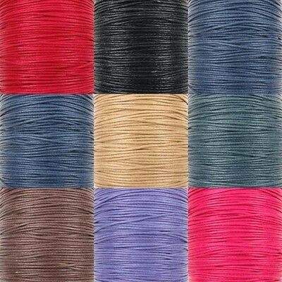 0.6mm Waxed Cotton Cord Thread Shamballa Macrame Jewellery 8 Colours x 10 metres