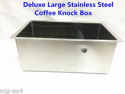 AZ Deluxe Large Stainless Steel Coffee Knock Box Coffee Waste Bin +FREE BONUS