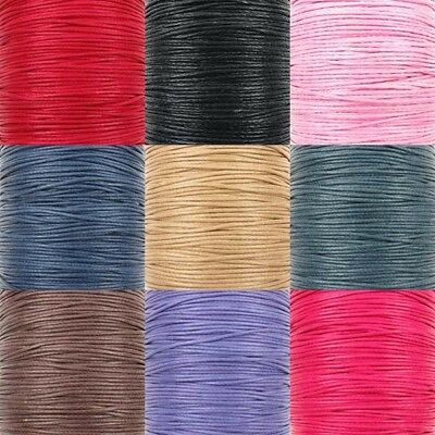 1mm Waxed Cotton Cord Thread Shamballa Macrame Jewellery 9 Colours x 10 metres