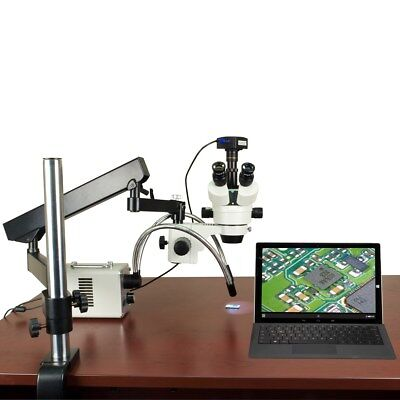 2.1X-225X 720p WiFi Digital Articulating Zoom Stereo Microscope 30W LED Y-Light