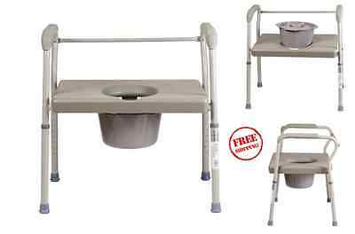 Bedside Chair Commode Duro-Med DMI Heavy-Duty Steel With Platform Seat Safety