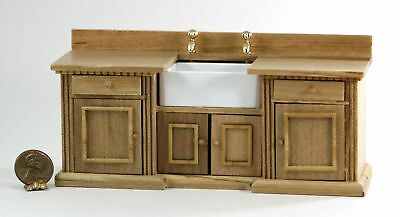 Dollhouse Miniature Kitchen Counter in Oak with a White Sink