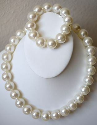 "18"" White Faux Pearl Stranded Choker Necklace + Bracelet Set 12mm Fashion ND34"