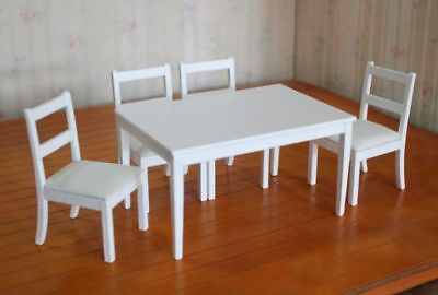 SaLe!!!  Dollhouse Miniature Kitchen Table & 4 Chairs in White Painted Wood