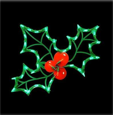 LED Lighted Holly Leaf  Window-Door Hanging Indoor/Outdoor Christmas Decor
