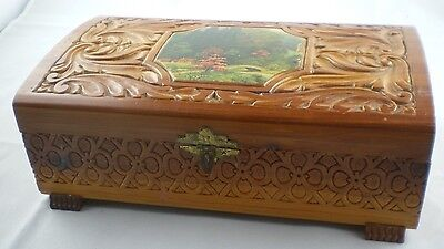 Vintage Carved Box Footed Legs Mirror Cedar Knotty Pine Countryside Picture
