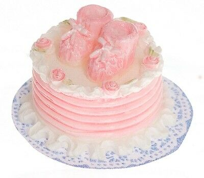 "Dollhouse Miniature Decorated Pink ""Baby Booties"" Cake"