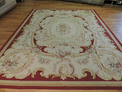 French Aubusson design Oriental Area Rug 8x10 Beige Red Outstanding !