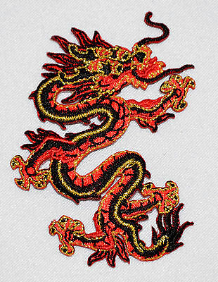 Oriental Red Dragon Embroidered Motif Iron On Patch garments material Embroidery