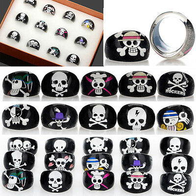 Wholesale Black Skull Children Kids Chubby Bulk Resin Lucite Rings 30pcs