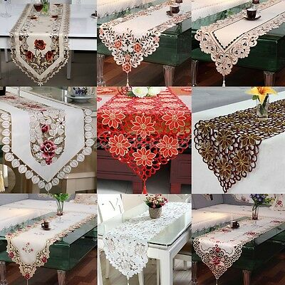 YAZI Retro Embroidered Flower Tassel Cutwork Home Dining Table Runner Decor